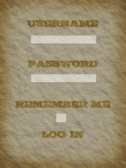Ancient paper with member login