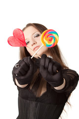 Gothic girl with lollipops