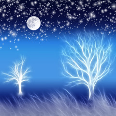 Abstract background with trees, moon and stars