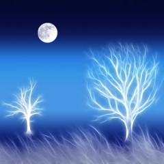 Abstract background with trees and moon
