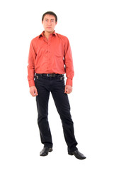 Studio Portrait Of Modern Young Handsome Man In Red Shirt.