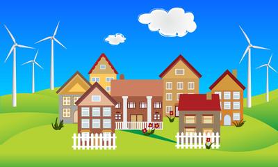 Environmentally conscious eco friendly town