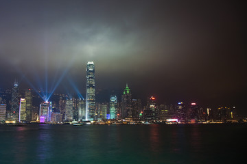 hong kong harbor laser light show and panorama