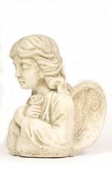 weißer Engel mit Rose