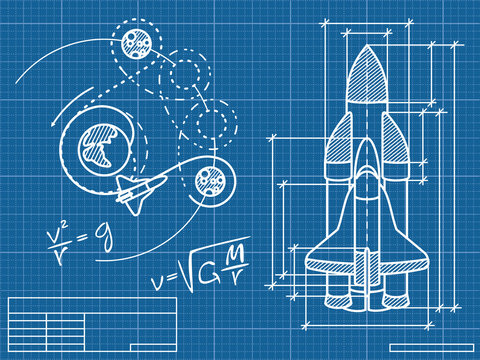 blueprint of the spaceship and its flight path