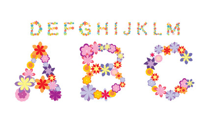 Alphabet made by flowers