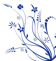 blue flower and vines texture