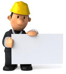 Architecte et panneau blanc
