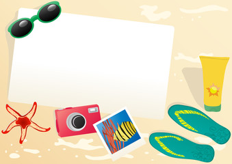 Vector illustration of paper with sammer objects