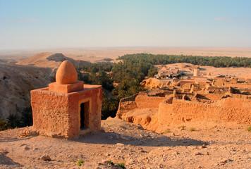 Poster de jardin Tunisie Ruins of old houses in village Chebika, mountain oasis, Tunisia