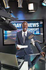 TV/Radio news anchor with screen selection your graphic path