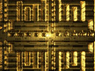 Background - Designvorlage - goldene Platine - 3D