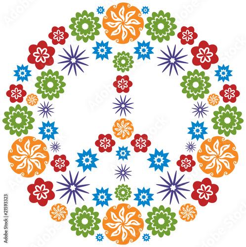 symbole peace and love fleurs multicolore fichier vectoriel libre de droits sur la banque d. Black Bedroom Furniture Sets. Home Design Ideas