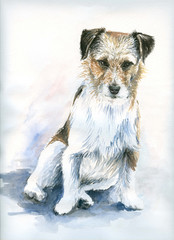 Small dog watercolor painted.