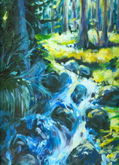 Spring in forest oil painted.