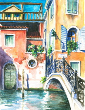 Venice watercolor painted.
