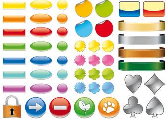 Pulsanti e icone web 3D vari colori