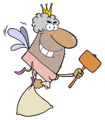 African American Tooth Fairy Flying With A Mallet And Bag
