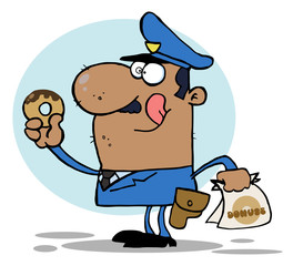 African American Police Officer Eating Donut
