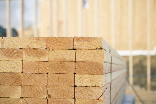 Close-up of Stacks of Lumber at a Construction Site