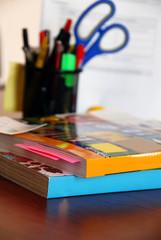 Catalogs on office desk