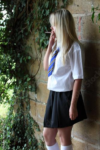fa790f971a Teenage schoolgirl smoking