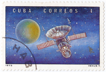 stamp printed in Cuba shows the soviet Venus station