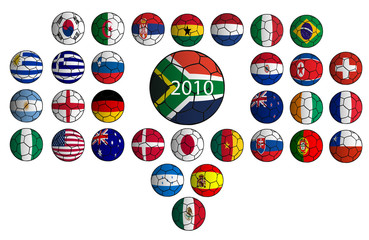 balones banderas equipos participantes mundial 2010