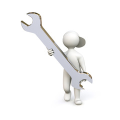 3D Man with Screw-Wrench