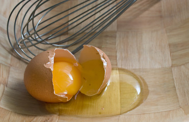 Cracked Egg in a bowl with whisk