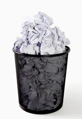 Full paper bin, trash, recycle bin