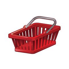 Red Shopping Basket - vector illustation