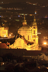 Night Prague with St. Nicholas' Cathedral