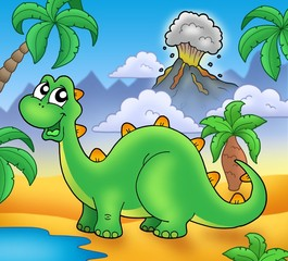 Photo sur Plexiglas Dinosaurs Cute green dinosaur with volcano