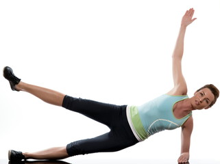 woman on Abdominals workout posture on white background