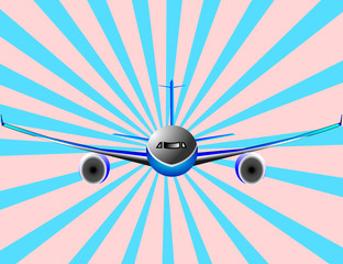 Papiers peints Avion, ballon Vector illustration of airplane or airbus plane in frontal view
