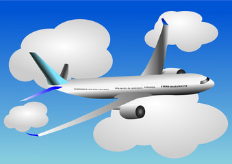 Papiers peints Avion, ballon Vector illustration of airplane or airbus plane and clouds