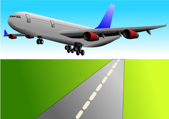 Vector illustration of taking off plane over the runway