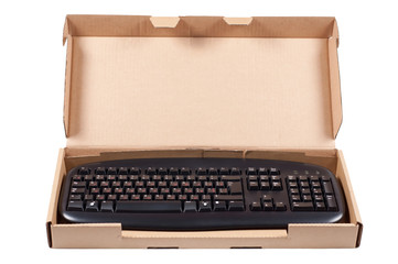 The keyboard in a box isolated on a white background.