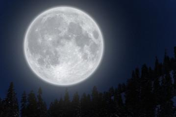 Full moon over mountain