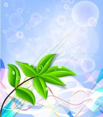 Beautiful green leaf background, vector illustration