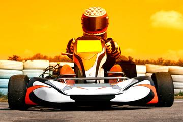Printed roller blinds Fast cars pilote de karting au coucher du soleil