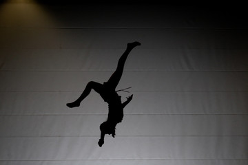 acrobatic backflip silhouette