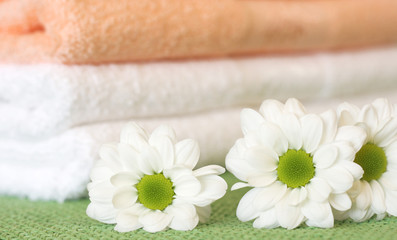 Three daisy flowers and towels