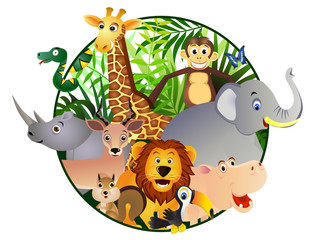 Poster de jardin Zoo Safari cartoon