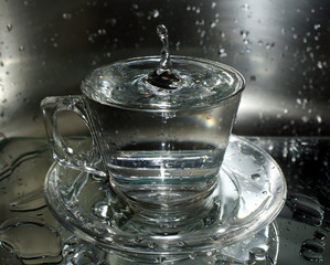Water splashes in a cup