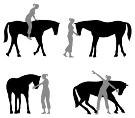 horse woman silhouette