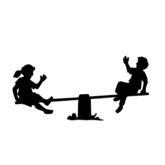Enfants, jeux de balançoire