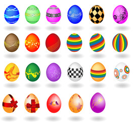 The big set of Easter eggs on a white background. A vector illus