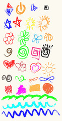 Vector elements of design stylised under children's drawing a pe
